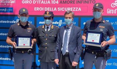 """PS e Autostrade per l'Italia: insieme al giro d'Italia per la decima edizione degli """"eroi della sicurezza"""""""