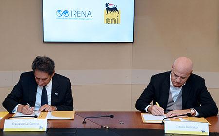 Eni e l'Agenzia Internazionale per le Energie Rinnovabili avviano una partnership per accelerare la transizione energetica